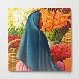 Woman with Calla Lilies (Mujer Con Flores) by Miguel Covarrubias Metal Print