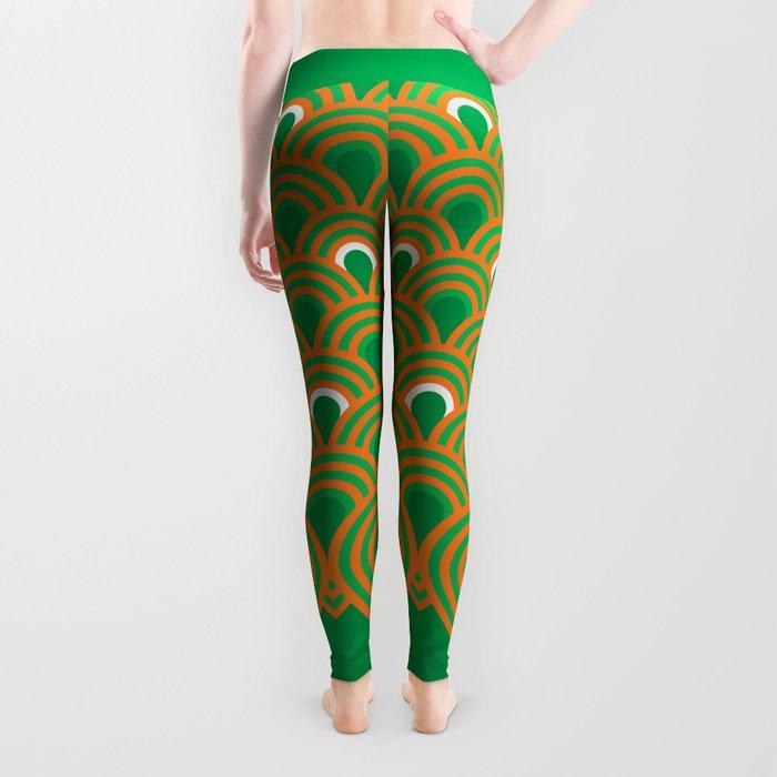 retro sixties inspired fan pattern in green and orange Leggings