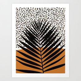 Palm leaf in black Art Print