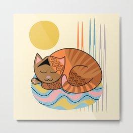 Modern sleeping cat in trendy colors Metal Print