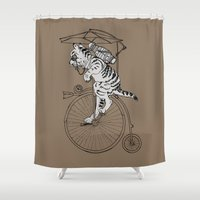 steam punk Shower Curtains featuring Steam Punk Tabby Cat by Rebecca Pocai