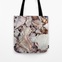seashell Tote Bags featuring seashell by Pink Revenge