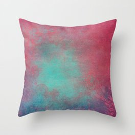 Grunge Garden Canvas Texture:  Pink and Turquoise Ornate Throw Pillow