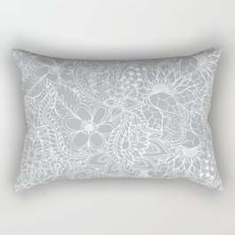 Modern trendy white floral lace hand drawn pattern on harbor mist grey Rectangular Pillow