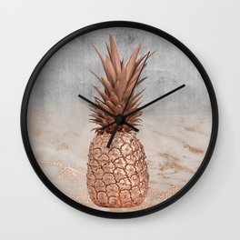 Pineapple in Glitter Marble Rose Gold And Concrete Wall Clock