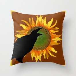 COFFEE BROWN CROW YELLOW SUNFLOWER FLORAL ART Throw Pillow