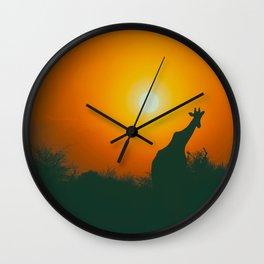 Lonely Sunset Giraffe Wall Clock
