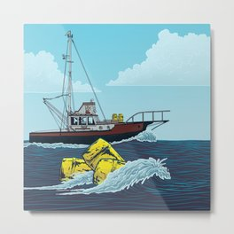 Jaws: Orca Illustration Metal Print