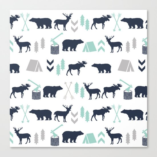 Camper pattern minimal nursery basic grey navy mint white camping cabin chalet decor Canvas Print