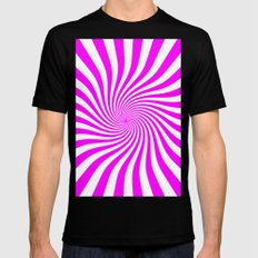 Swirl (Fuchsia/White) MEDIUM Black Mens Fitted Tee