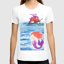 The mermaid and the pirate boat T-shirt