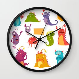 Monsters vector set. Kids cartoon toy, colorful cute monster Wall Clock