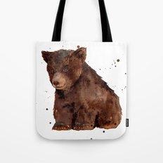 Cute Baby Bear, teddy bear, teddy, bear cub, brown bear, nursery art, woodland, bear painting Tote Bag