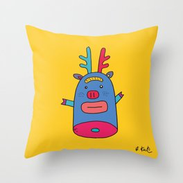 Rudolph pig Throw Pillow