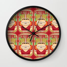 American Football Red and Gold - Hail-Mary Blitzsacker - Jacqui version Wall Clock