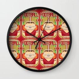 American Football Red and Gold - Hail-Mary Blitzsacker - Jacqui version Wall Clock