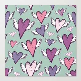 Wedding romantic pattern - hearts with wings sketch retro style Canvas Print