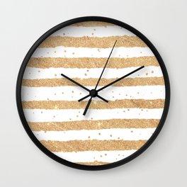 Elegant white faux gold glitter geometrical stripes Wall Clock