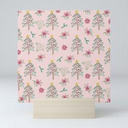 Christmas Pattern Pink Mini Art Print