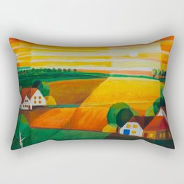 DoroT No 0181 – Summer Evening Over Village – Sommerabend über dem Dorf Rectangular Pillow