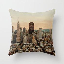 Vintage San Francisco Cityscape (Color) Throw Pillow