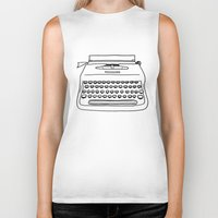 typewriter Biker Tanks featuring 'Typewriter' by Ben Rowe