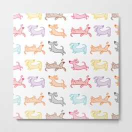 Dachshund Wiener Dog Art - colorful bright pattern perfect for nursery, kid's room or birthday gi Metal Print