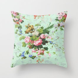 Antique romantic vintage 1800s Victorian floral shabby rose flowers pattern aqua mint hipster print Throw Pillow