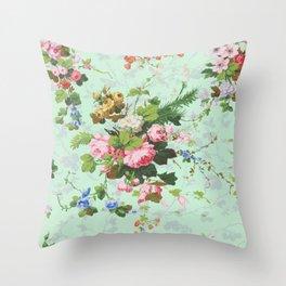 Antique romantic vintage 1800s Victorian floral shabby rose flowers pattern aqua mint hipster print Throw Pillow
