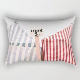 Striped beach huts Rectangular Pillow