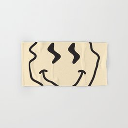 Wonky Smiley Face - Black and Cream Hand & Bath Towel