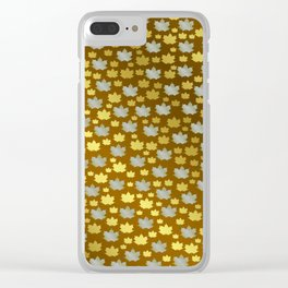 gold, silver, metal shiny maple leaf on shimmering texture Clear iPhone Case