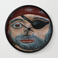 pirate Wall Clocks featuring Pirate by Fine2art