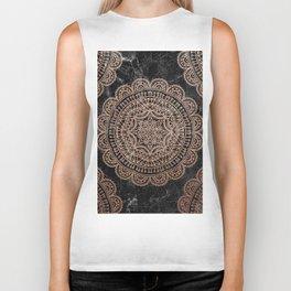 Mandala - rose gold and black marble 2 Biker Tank