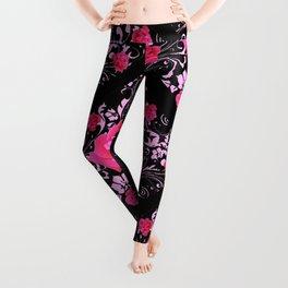 FUCHSIA PINK ROSE BLACK BROCADE GARDEN ART Leggings