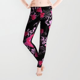 FUCHSIA PINK ROSE BLACK BROCADE GARDEN ART Leggings