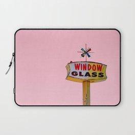 Atomic Pink Starburst - Vintage Googie-Style Sign with Pink Background Laptop Sleeve