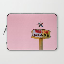 Atomic Pink Starburst - Vintage Googie-Style Sign with Pink Background Laptop Sleeve