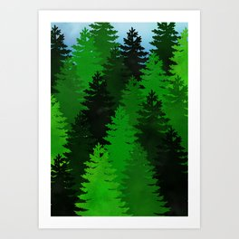 Green Pine Trees Art Print