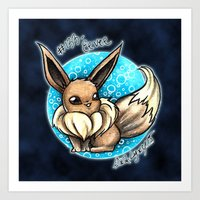 eevee Art Prints featuring 133- Eevee by Lyxy