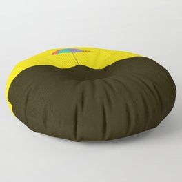 Colorful Umbrella On A Black Mountain In A Yellow Background - #society6 #buyart Floor Pillow