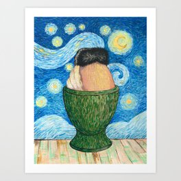 A boiled egg according to Vincent Van Gogh Art Print