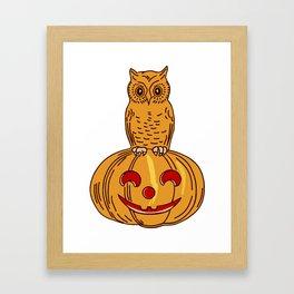 Owl and the Pumpkin Framed Art Print