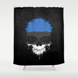 Flag of Estonia on a Chaotic Splatter Skull Shower Curtain