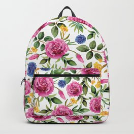 Watercolor Roses - Pink, Blue, Yellow & Green Floral/Botanical Pattern Backpack