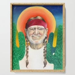 Willie Nelson Sunset Cactus Painting Serving Tray