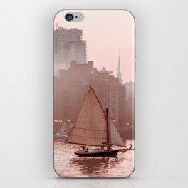 Boston skyline and fog iPhone Skin