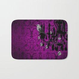 Bird & Purple Damask Sparkly Chandelier Silhouette Bath Mat