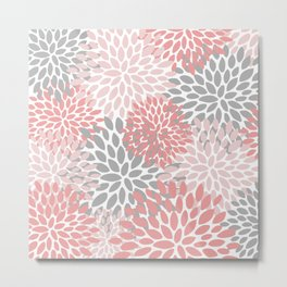 Floral Pattern, Coral Pink and Gray Metal Print