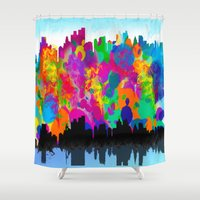 cityscape Shower Curtains featuring CityScape by Artbymaritza